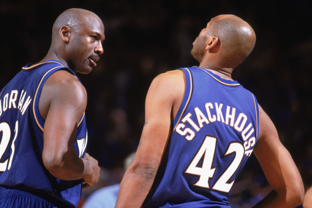 Michael Jordan alongside Jerry Stackhouse
